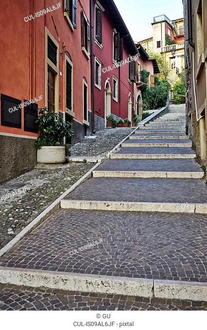 Narrow street with steps, Verona, Italy