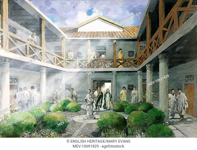 Wall Roman Site (Letocetum), Staffordshire. The Lodging Place courtyard. Reconstruction drawing by Ivan Lapper
