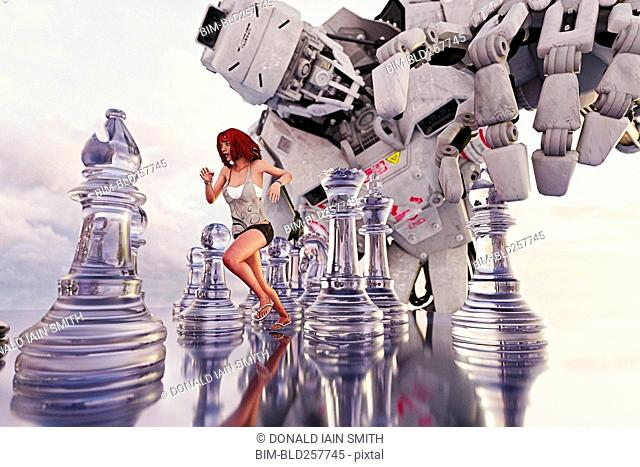 Woman running between chess pieces from giant robot