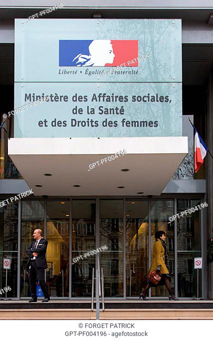 ENTRANCE TO THE MINISTRY OF SOCIAL AFFAIRS, HEALTH AND WOMEN'S RIGHTS, (75) PARIS