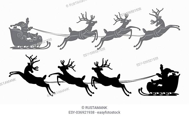 Black vector silhouette, Flying Santa Claus in a reindeer sleigh