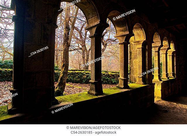 Cloister. Monastery of Santa Cristina de Ribas de Sil. IX century medieval Monastery. Romanesque church XII-XIII century. Ribeira Sacra. Orense
