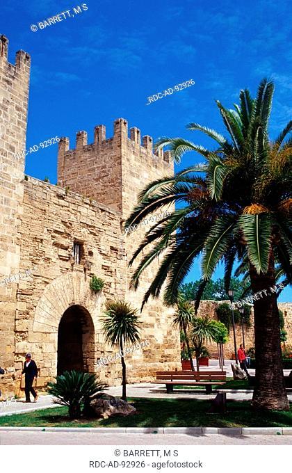 Old town gate Alcudia Majorca Balearic Islands Spain