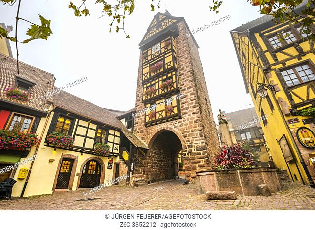landmark of the village Riquewihr with timberwork, Alsace Wine Route, France, town wall with the the Dolder tower and flower-bedecked well