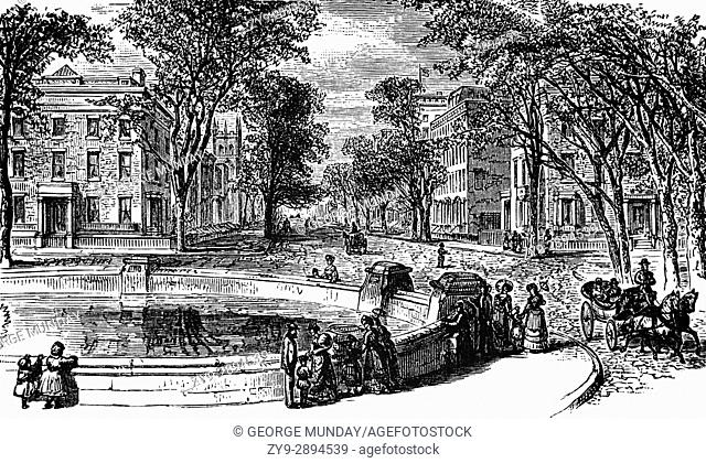 1879: Washington Square where it meets Fifth Avenue,. New York City, . United States of America