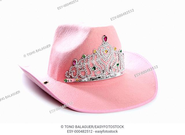 Children girl pink cowboy cowgirl hat with princess crown