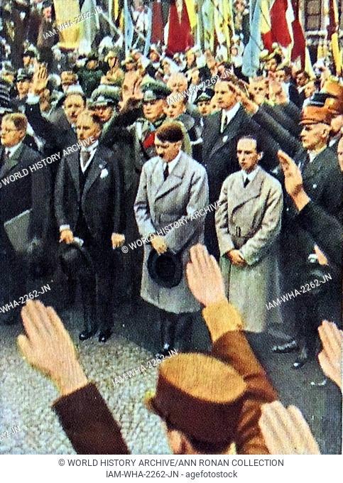 Vice Chancellor Von Papen, Adolf Hitler and Josef Goebbels circa 1933