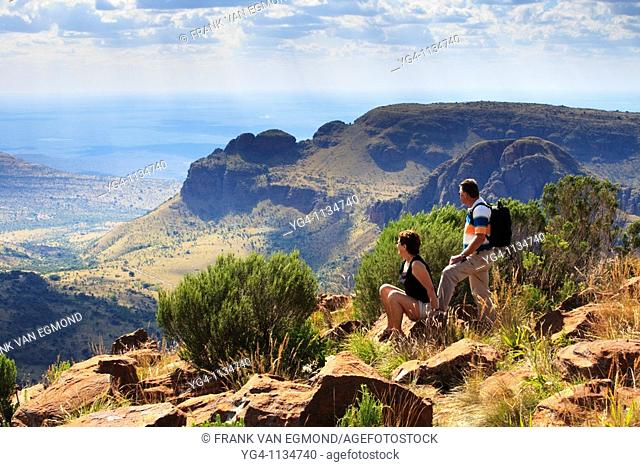 Senior couple hiking at the Waterberg, Marakele National Park, South Africa