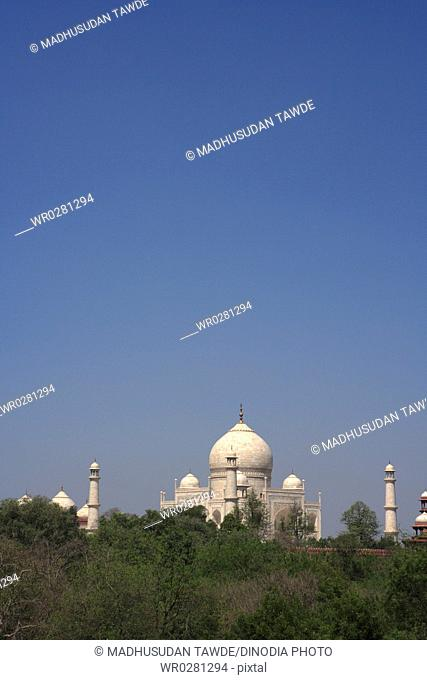 Taj Mahal Seventh Wonders of World on the south bank of Yamuna river , Agra , Uttar Pradesh , India UNESCO World Heritage Site