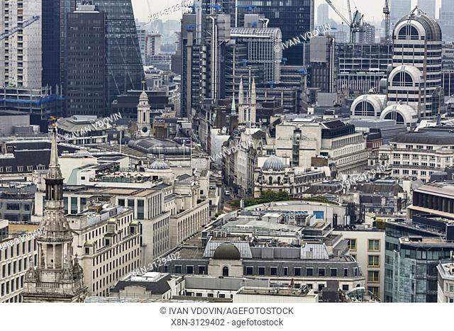 St Mary le Bow church, Cityscape from the gallery of St Paul's Cathedral, London, England, UK