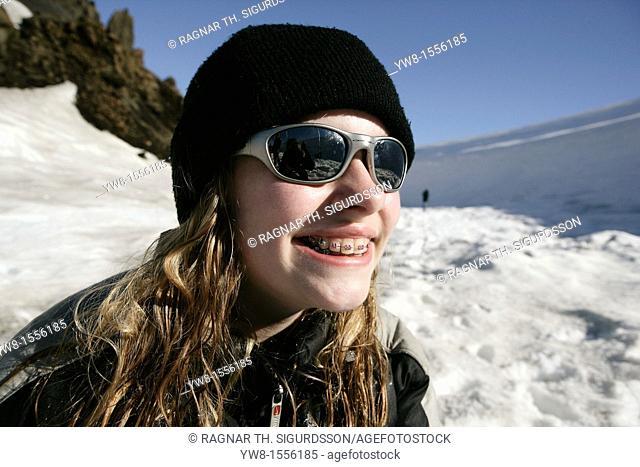 Teenager girl on Langjokull Glacier, Iceland