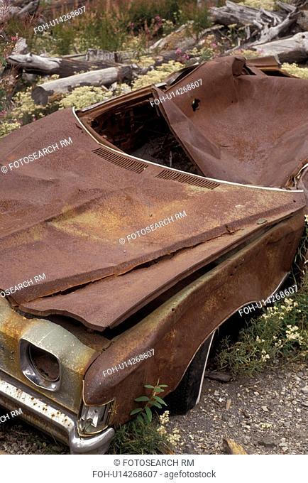 Mount Saint Helens, destruction, volcano, Mount St. Helens National Volcanic Monument, Cascade Range, Washington, Remains of a car among the devastation in the...