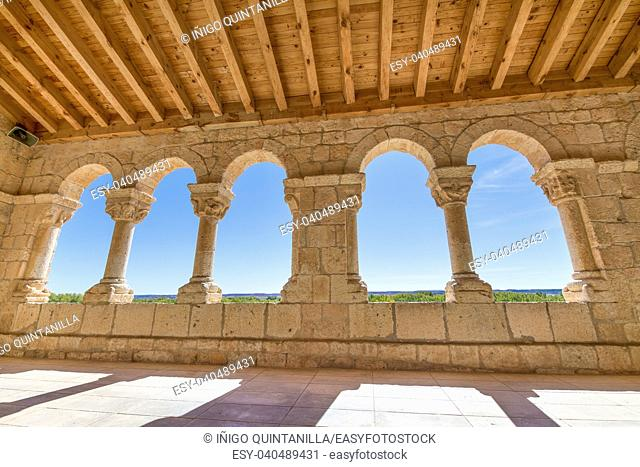 archs in portico of church Santa Maria del Rivero, romanesque style landmark and public monument from 12th century, in San Esteban de Gormaz, Soria, Spain