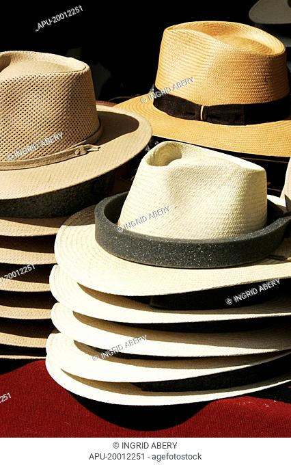 Straw hats for sale at a horse polo event
