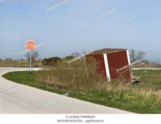 Bus house went upside down, Gotland, Sweden Sweden