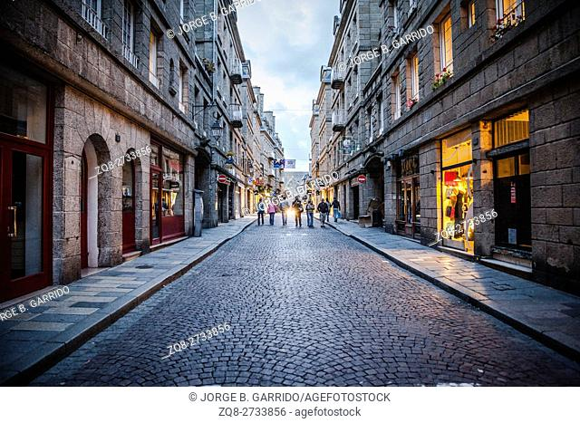 In the streets of Saint-Malo. Saint Malo is a walled port city in Brittany in northwestern France