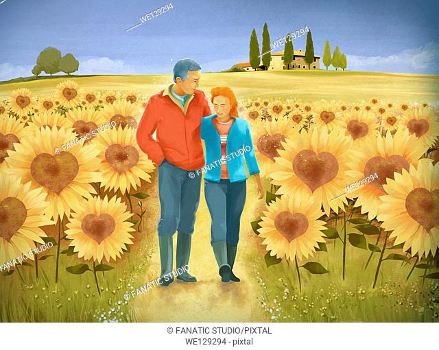 Illustrative image of senior couple walking in sunflower field representing happy retired life