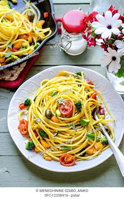 Rainbow spaghetti with vegetables