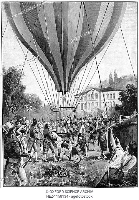 Joseph Louis Gay-Lussac making a balloon ascent from Paris, 14 September 1804 (1910). On this flight, French chemist and physicist Gay-Lussac (1778-1850)...