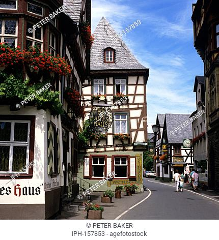 Altes House Old House - an ancient timber framed house which overlooks the marketplace in the wine town of Bacharach