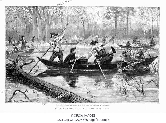 Troops, under Command of Benedict Arnold, at Skowhegan Falls, Maine en Rout to Invasion of Canada, 1775, Working Against the Flood on Dead River