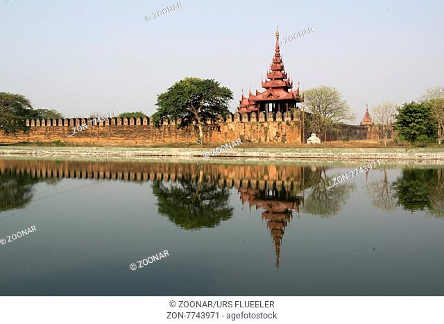 the Moat and Fortress wall of the Royal Palace in the City of Mandalay in Myanmar in Southeastasia