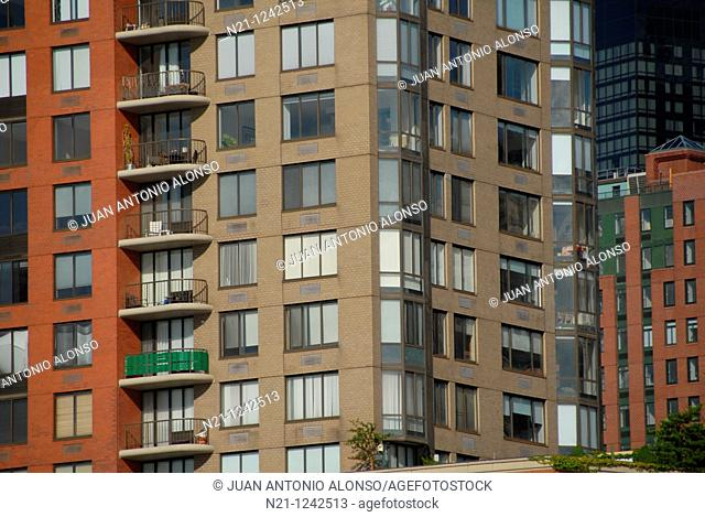 Apartment buildings in Battery Park City. Hudson River. Lower Manhattan West. New York, New York. USA