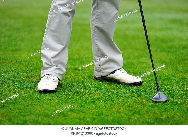 Golfer waiting his turn. Larrabea golf course, Alava, Basque Country, Spain