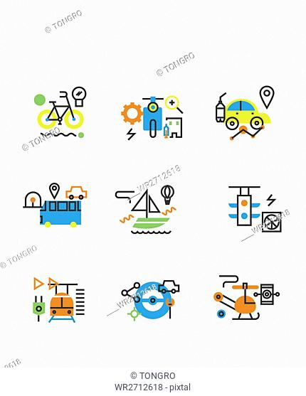 Various icons related to transportation