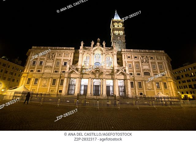 The Basilica Santa Maria Maggiore and the square at night Rome Italy on February 7, 2017