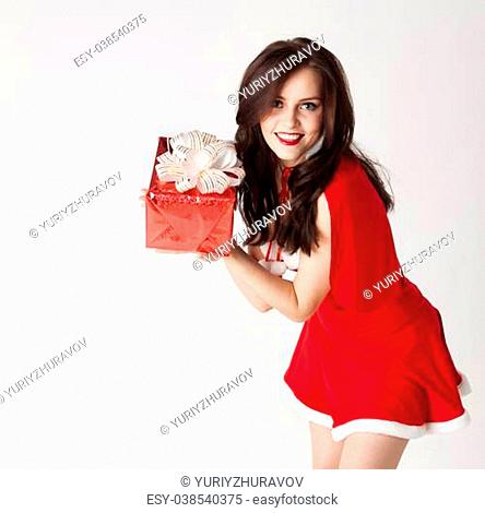happy santa girl with presrnt on white background