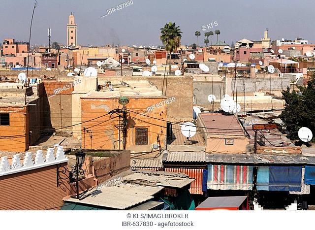View of Souk and Medina roofs, Marrakech, Morocco, Africa