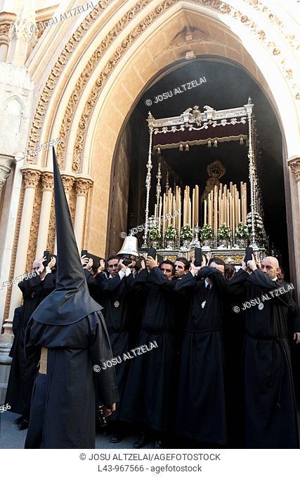 Holy Week procession, Cofradía de los Dolores de San Juan, Malaga, Andalusia, Spain