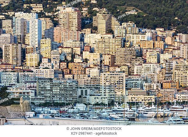 Yachts docked in Port Hercule, Monaco