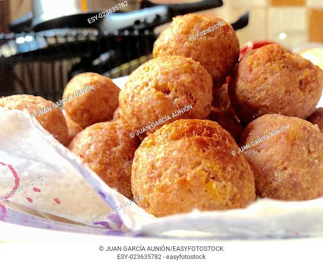 Fried large homemade meatballs for dinner
