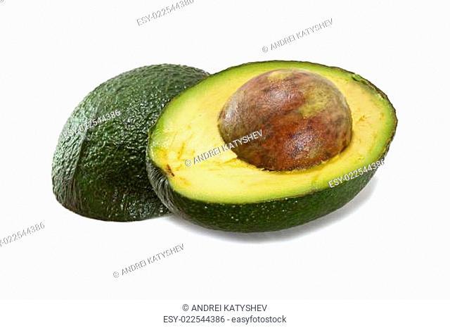 Halved avocado isolated on white background