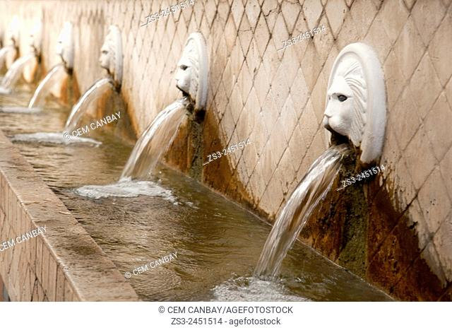 Close-Up shot of fountains in Spili village, Rethymno Region, Crete, Greek Islands, Greece, Europe