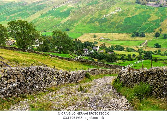 Nanny Lane leading to Troutbeck on the side of Wansfell in the Lake District, Cumbria, England