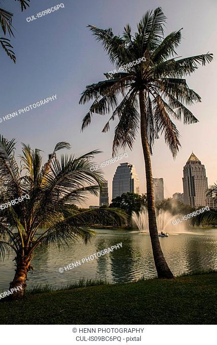 Lumpini Park in the heart of the Sathorn business area in Bangkok, Bangkok Metropolis, Krung Thep, Thailand