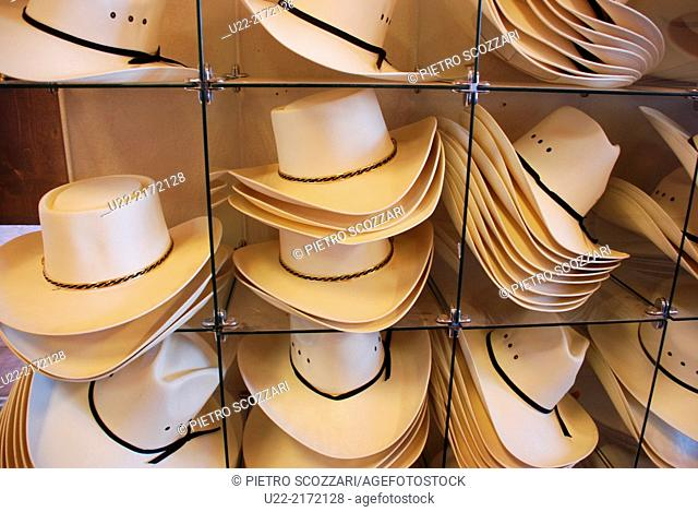Utah/Arizona, U.S.A., Monument Valley, cowboy hats sold to tourists in a shop