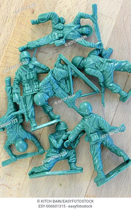 A close up shot of aArmy action figures