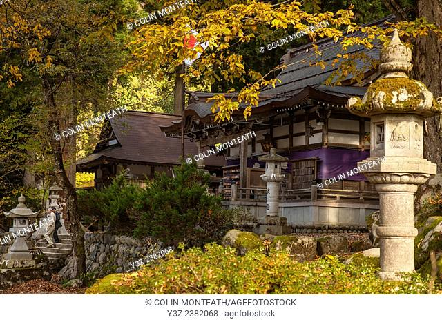 Shinto shrine, autumn in Gokayama World Heritage village, Japan