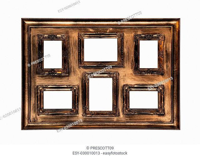 Picture photo frame antique with six windows inside isolated on white background