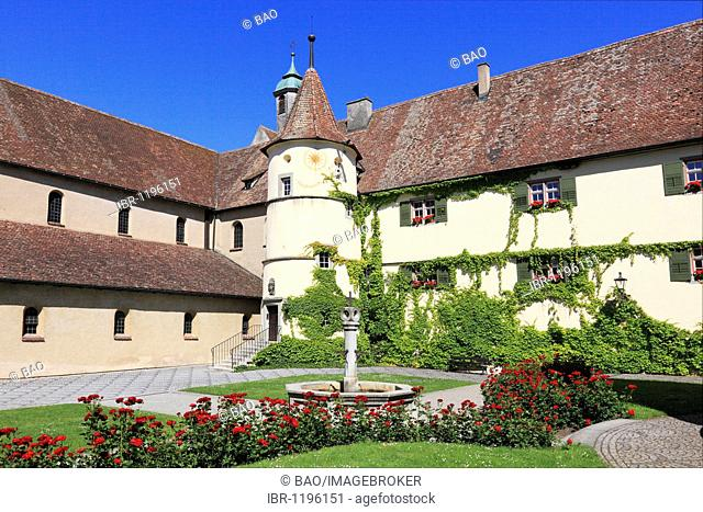 Courtyard of the minster dedicated to the Virgin and Saint Mark, Marienmuenster, Abbey of Reichenau, Mittelzell, Reichenau Island, Lake Constance