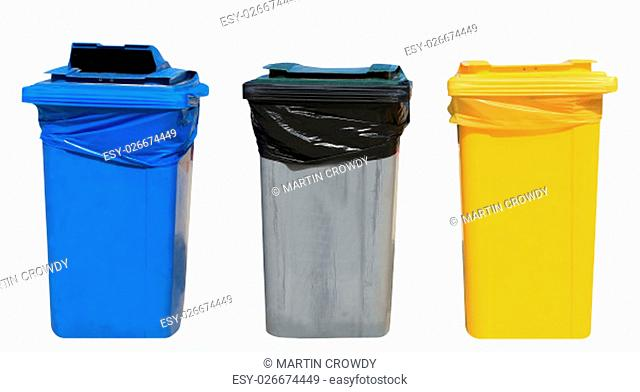 Set of blue, gray and yellow recyling bins on a white background