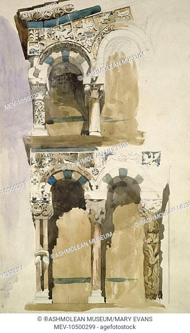 Part of the Facade of the destroyed Church of San Michele in Foro, Lucca, sketched in Colour. John Ruskin