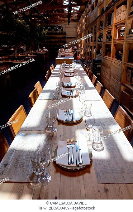 Spain, Catalonia, Barcelona, Santa Caterina market, Table at Cuines Santa Caterina restaurant
