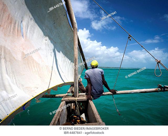 Local driving catamaran Ngalawa Boat, Dhow, Zanzibar Archipelago, Tanzania
