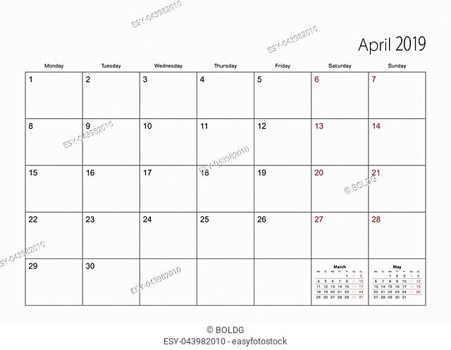 April 2019 simple calendar planner, week starts from Monday