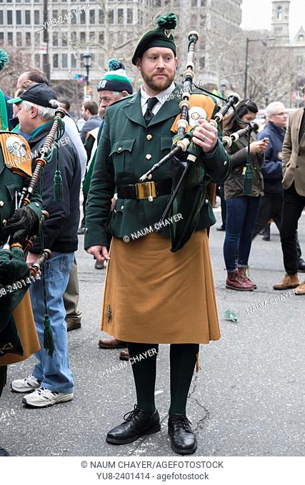 A Musician of Philadelphia Emerald Society Pipe Band, St. Patrick's Day Parade, Philadelphia, USA